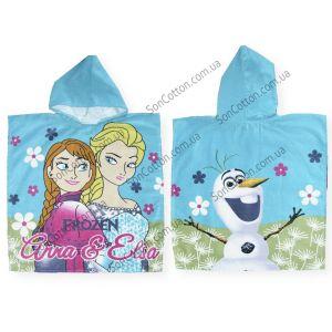 Холодное сердце (Frozen). Полотенце-пончо детское с капюшоном