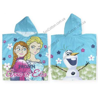 Полотенце-пончо Холодное сердце (Frozen), детское, с капюшоном
