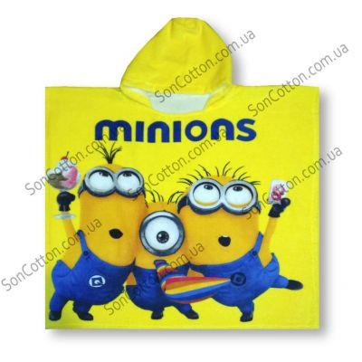 Полотенце-пончо Minions 70*140, детское, с капюшоном