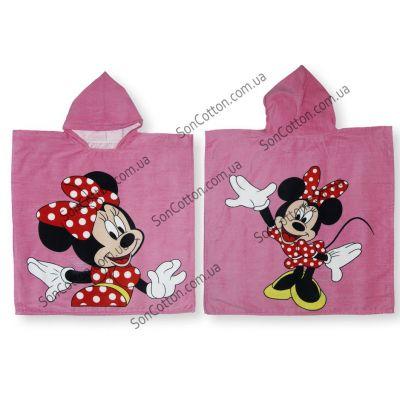 Полотенце-пончо Минни Маус (розовый) 60*120, детское, с капюшоном