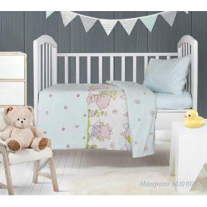 Мишутки голубой. Детский КПБ в кроватку (ТМ Блакіт - Беларусь)