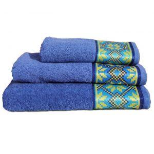 Полотенце Оберег голубой с бордюром в украинском стиле. ТМ Магия комфорта.