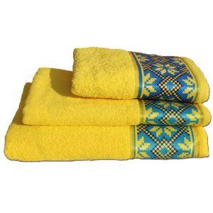 Полотенце Оберег желтый с бордюром в украинском стиле. ТМ Магия комфорта.