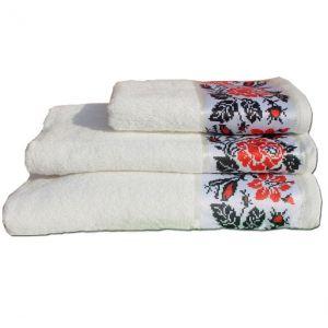 Рушник Троянда білий із бордюром в українському стилі. ТМ Магія комфорту
