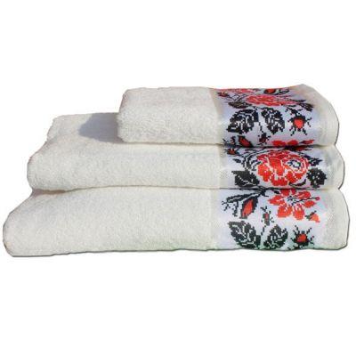 Полотенце Роза белый, украинский стиль. ТМ Магия комфорта