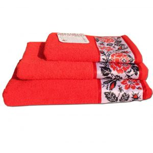 Рушник Троянда червоний із бордюром в українському стилі. ТМ Магія комфорту