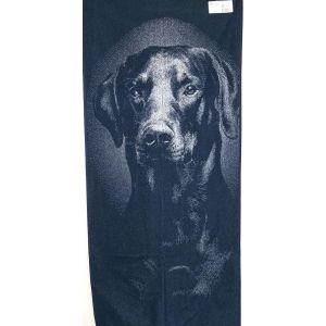 Дог синій. Махровий рушник банний 67*150 см