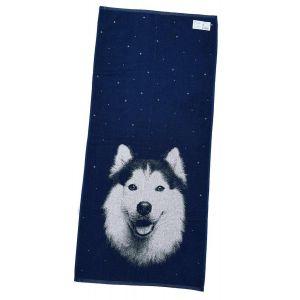 Хаски синий. Махровое полотенце банное 67*150 см