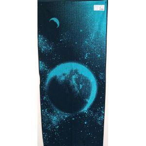 Космос бирюзовый. Махровое полотенце банное 67*150 см