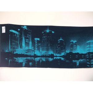 Ночной город бирюзовый. Махровое полотенце банное 67*150 см