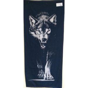 Вовк синій. Махровий рушник банний 67*150 см