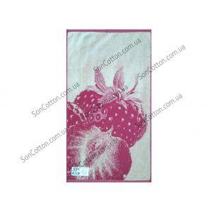 Клубника. Махровое полотенце 67*150 см