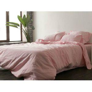 КПБ Розовый № 1402. Постельное белье лен