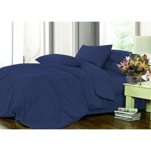 CLASSIC BLUE 4052. Простынь на резинке сатин люкс. Комфорт текстиль, Украина