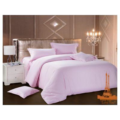 Комплект постельного белья сатин-страйп  Светло-розовый арт. 7-1 ТМ Love You