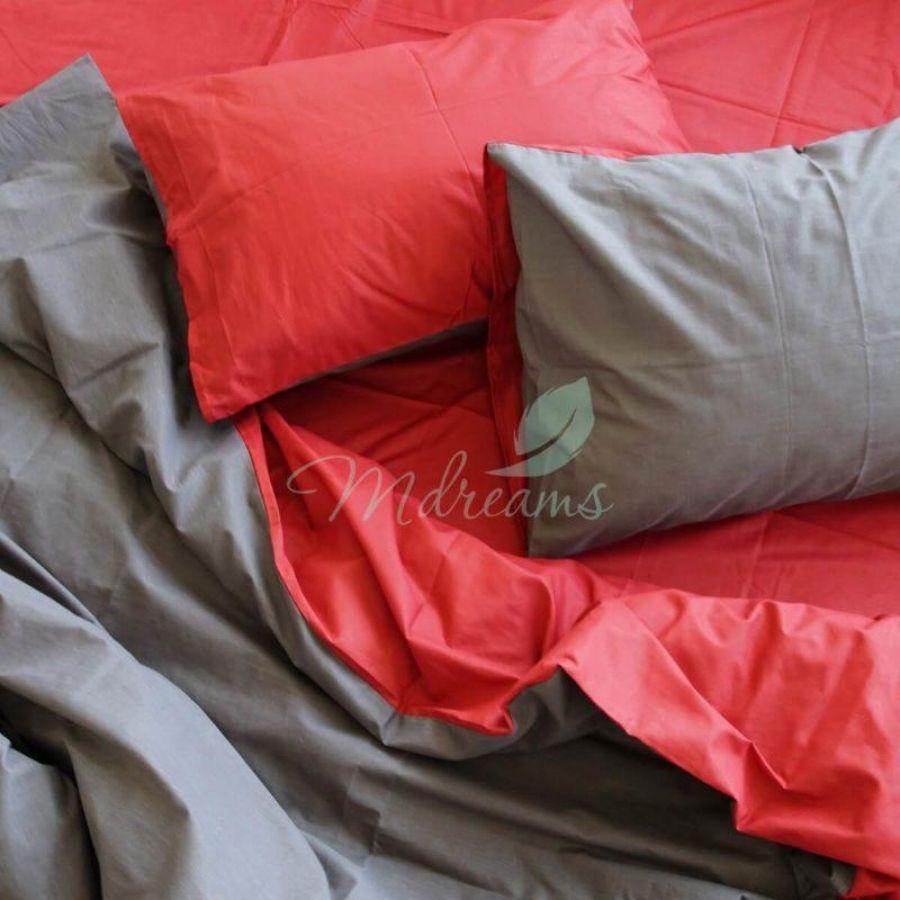 Комплект постільної білизни сатин Червоно-сіра. ТМ MDreams c8f3516fa77ec