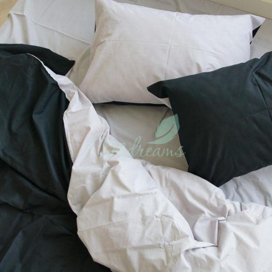 Комплект постільної білизни сатин Світло-сіра з чорним. ТМ MDreams ... 561793543935c