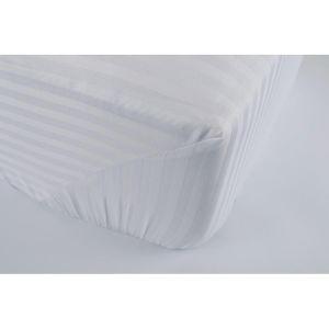 Простынь на резинке Белая 1-1 см сатин страйп