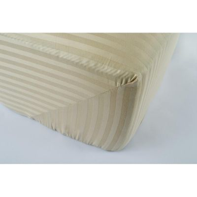 Простынь на резинке сатин страйп Бежевая 1-1 см
