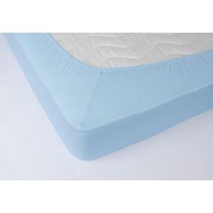 Голубая махровая простыня на резинке
