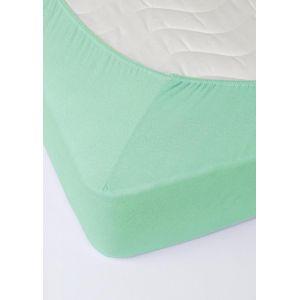 Ментоловая махровая простыня на резинке