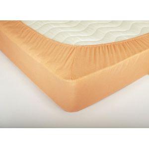 Персиковая махровая простыня на резинке