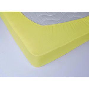 Желтая махровая простыня на резинке