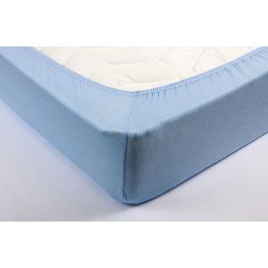 Голубая трикотажная простыня на резинке