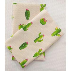 Кактусы. Вафельное полотенце кухонное