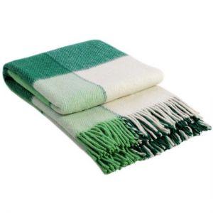 Шерстянной Плед Эльф №1 (белый, салатовый, зеленый)