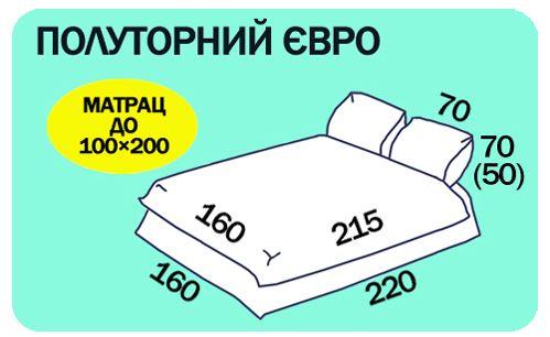 Размеры полуторного евро постельного белья