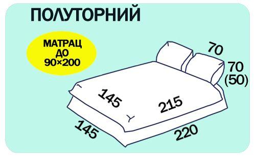 Размеры полуторного комплекта постельного белья